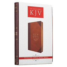 Load image into Gallery viewer, KJV Holy Bible, Thinline Large Print Bible, Two-tone Brown Faux Leather Bible w/Ribbon Marker, Red Letter Edition, King James Version (English, ... Gujarati, Bengali and Korean Edition) - Lilrobinzz-clout