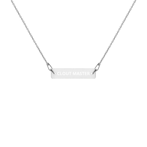 CLOUT MASTER Engraved Silver Bar Chain Necklace - Lilrobinzz-clout