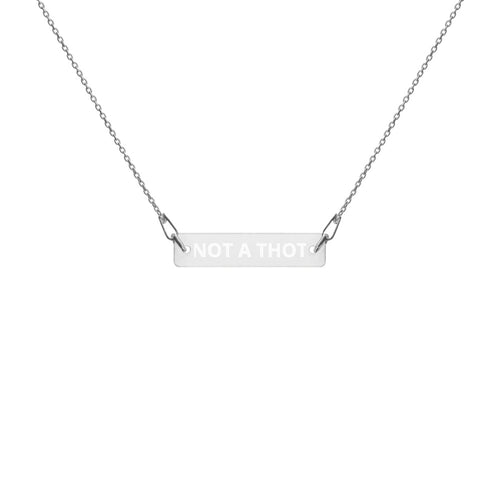 THOT PATROL Engraved Silver Bar Chain Necklace - Lilrobinzz-clout