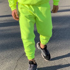Neon Green Style Men's Fashion Tracksuit Solid 2 Pieces Long Sleeve Hoody+Loose Swearpants Casual Sportsuit Men 2019 Newest OMSJ - Lilrobinzz-clout