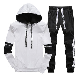 Sets Tracksuit Men Autumn Winter Hooded Sweatshirt Drawstring Outfit Sportswear 2019 Male Suit Pullover Two Piece Set Casual - Lilrobinzz-clout