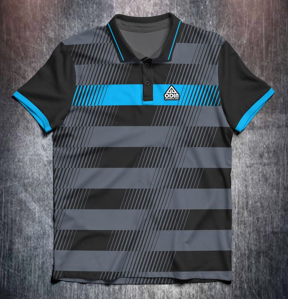 Black grey blue lines Tenpin Bowling Shirt and Apparel