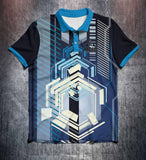 Blue Black White Futurism Tenpin Bowling Shirt and Apparel