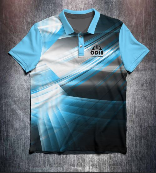 Grey Blue White Modern Tenpin Bowling Shirt and Apparel