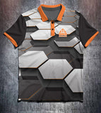Black Grey Orange Hexagon Tenpin Bowling Shirt and Apparel