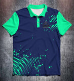 Vivid Green Blue Tenpin Bowling Shirt and Apparel