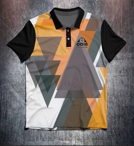 Black Orange Triangles design shirt