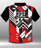 Black Red White Triangles design shirt