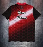 Red Black Hexagon Tenpin Bowling Shirt and Apparel