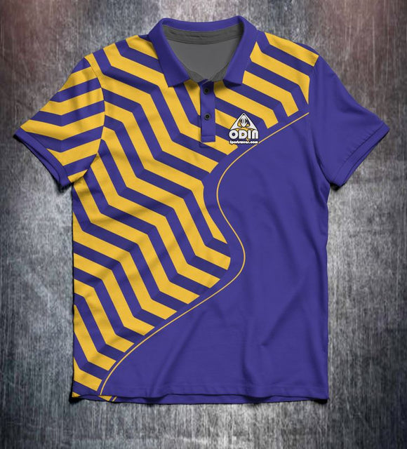 Purple Yellow Zigzag Tenpin Bowling Shirt and Apparel