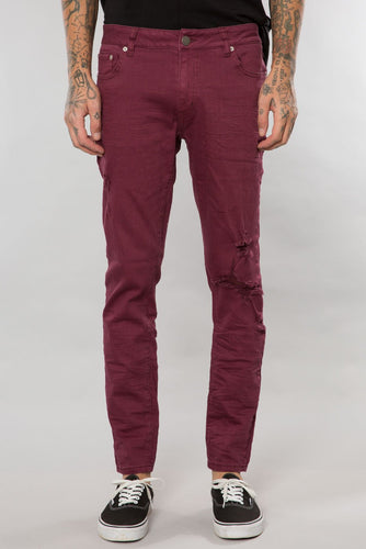 Elwood- BURGUNDY DESTRUCTED DENIM SLIM TAPERED PANT