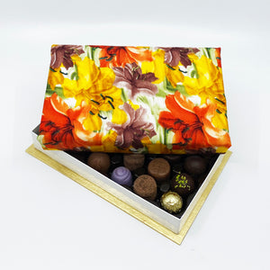 24 Piece Orange Lilies Silk Box