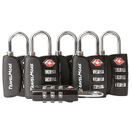 6 Pack Open Alert TSA Approved 3 Digit Luggage Locks
