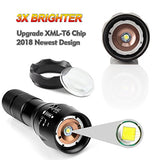 Tactical Flashlight 2 Pack - Tac Light Torch Flashlight - As Seen on TV XML T6 - Brightest LED Flashlight with 5 Modes - Adjustable Waterproof Flashlight for Biking Camping by LETMY