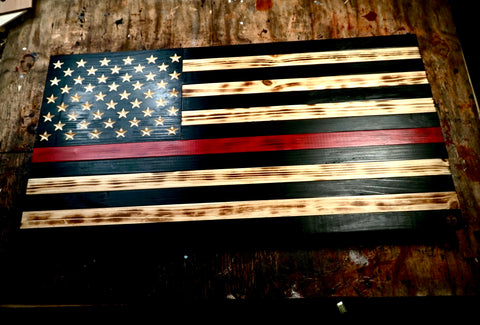 Fire Fighter Wood Flag