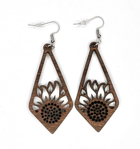 Sunflower Wood Earring