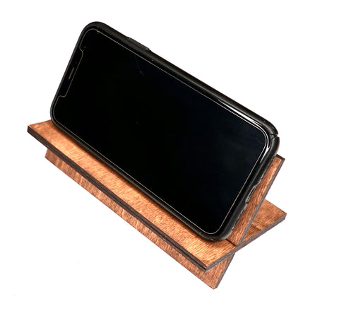 Portable Cell Phone Stand, Wooden Smart Phone Holder, Compatible with Phone 8 Plus X XS Max All iOS & Android Phone