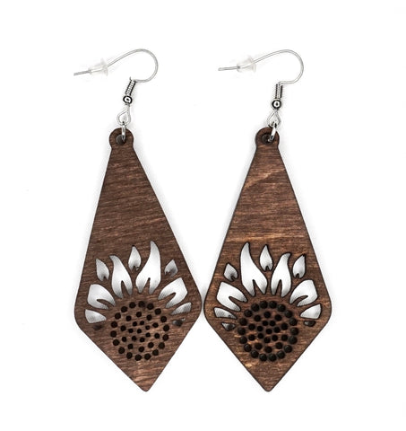 Sun Flower V2 Wood Earrings