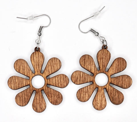 Big Flower Wood Earrings