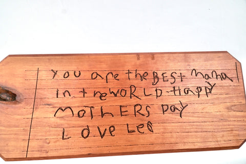 Custom Kids Handwriting on Hardwood Cherry Board