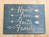 "Home-Love-Faith-Family - Wood Sign - 10""x14""x0.5"""