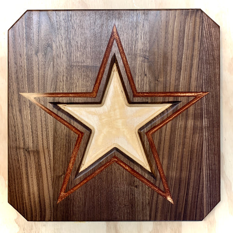 "Texas Star with Epoxy 16""x16""x7/8"""