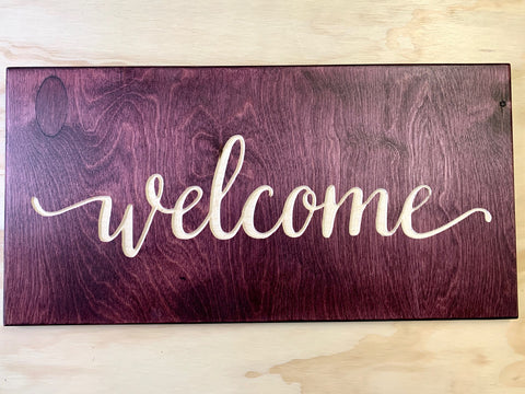 "Welcome - Wood sign 10""x20""x0.5"""