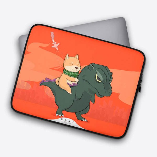 Hachiko Vs Godzilla (Laptop Cover) - Saki Deizan