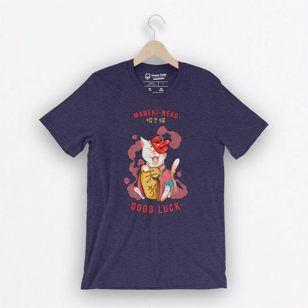 Maneki-Neko with Tengu mask - Unisex T-Shirt - Saki Deizan