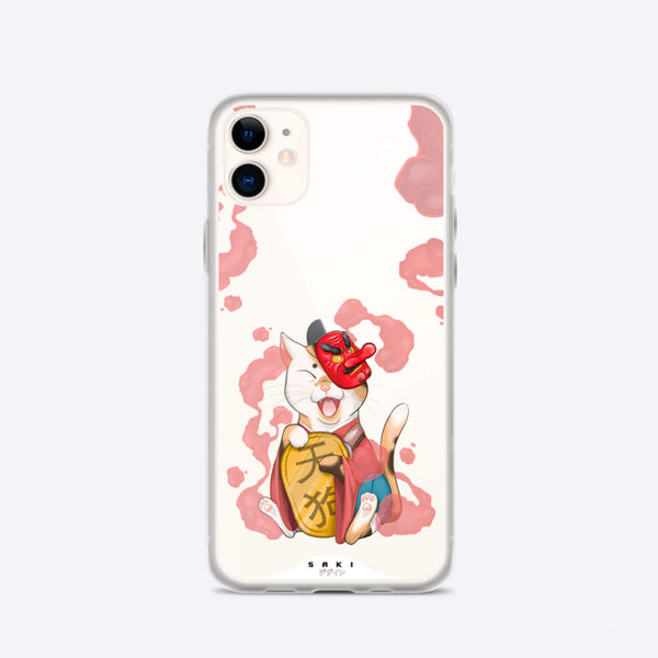 Cat with Tengu mask (iPhone Case) - Saki Deizan