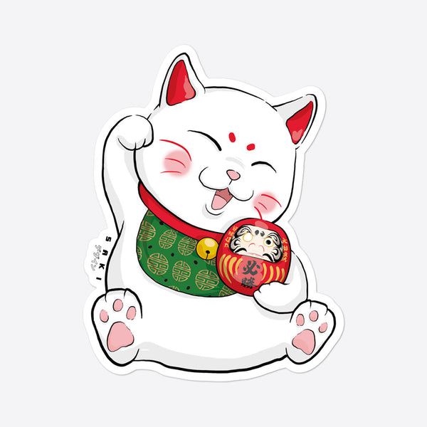 Maneki-Neko with Daruma - Sticker - Saki Deizan