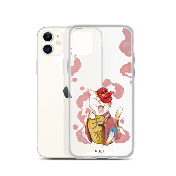 Cat with Tengu mask (iPhone Case)