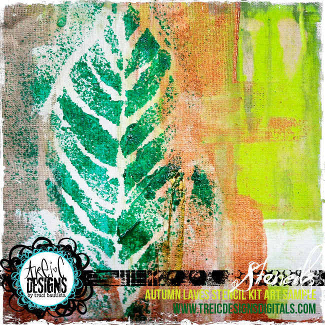 AUTUMN leaves stencil kit + webinar