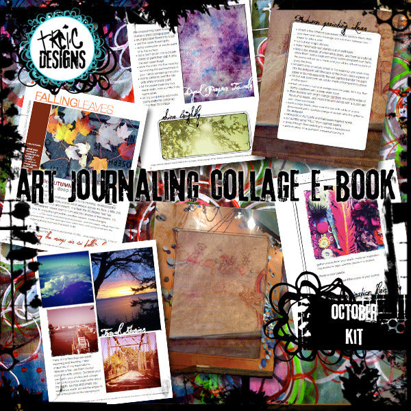 October art journaling e-book + digital collage kit
