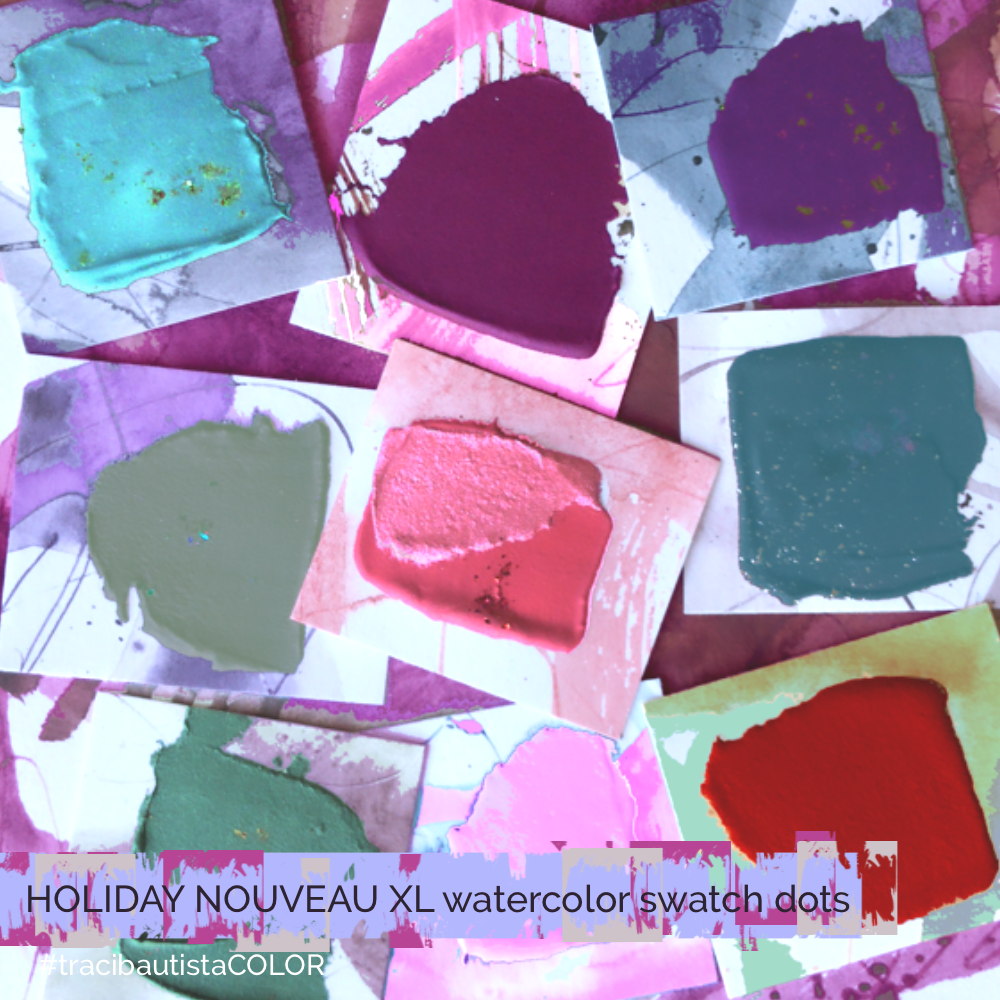 #tracibautistaCOLOR ~ HOLIDAY NOUVEAU XL watercolor palette dot card 6-set