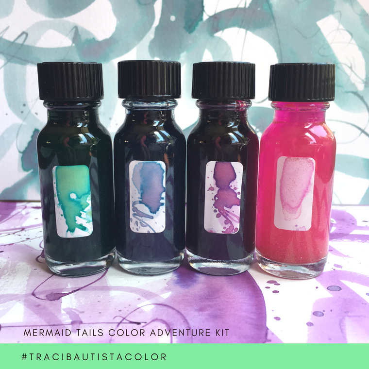 #tracibautistaCOLOR ~ MERMAID TAILS artisan ink 4 set {15ml}