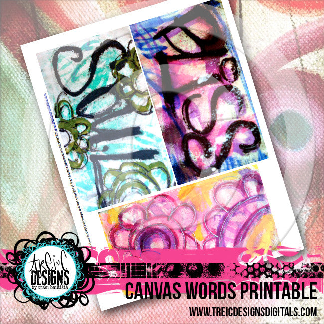 CANVAS words printable + transfers