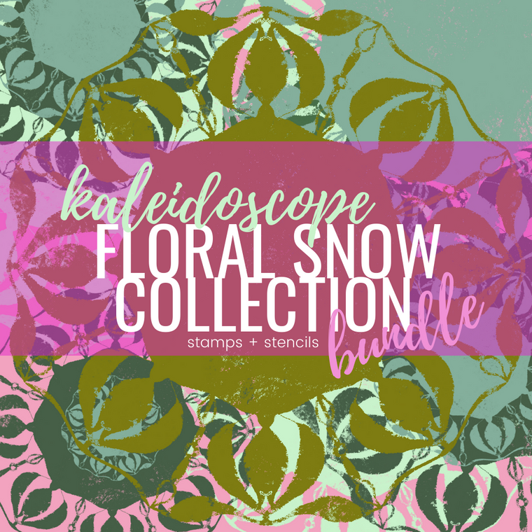 KALEIDOSCOPE floral snow stamp + stencil bundle