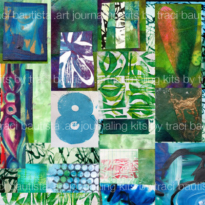 GREEN art journaling collage printable