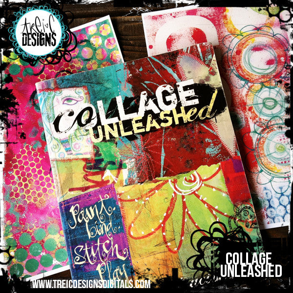 Collage Unleashed autographed book + collage sticker kit