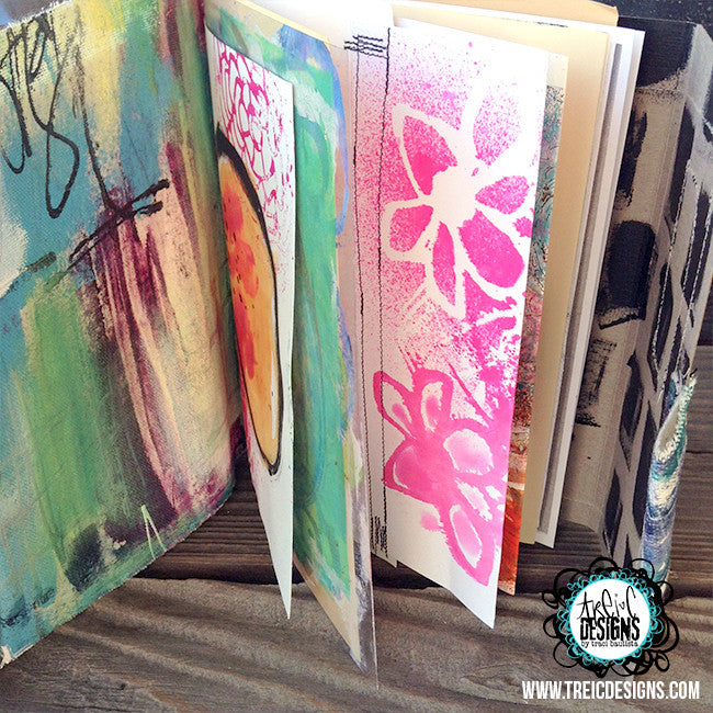 create FLORAL art quilt handmade journal