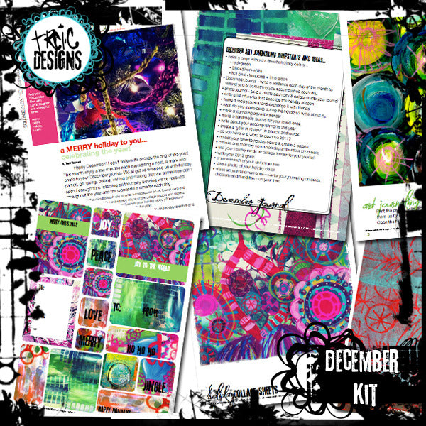 December art journaling PLAYbook + digital collage kit