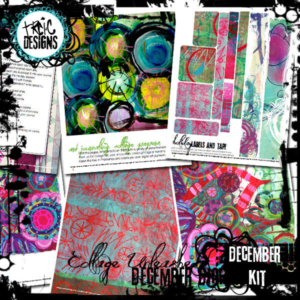 December art journaling e-book + digital collage kit