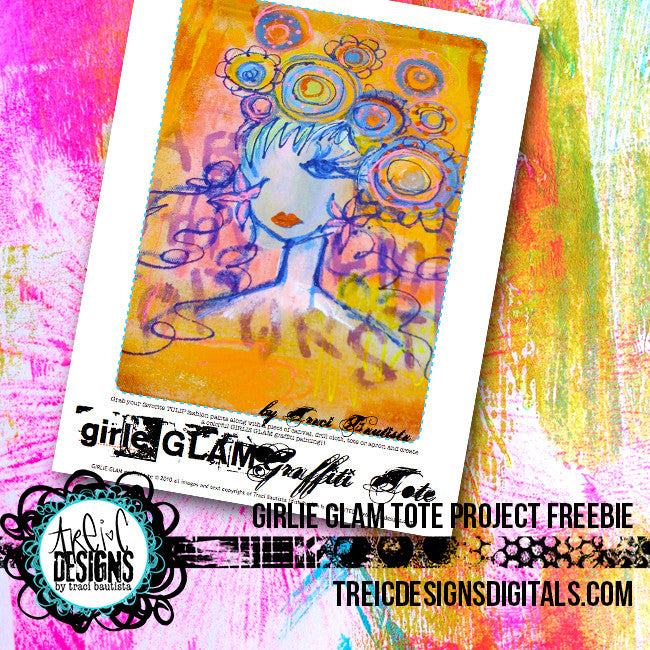 girlie GLAM graffiti tote project FREEBIE