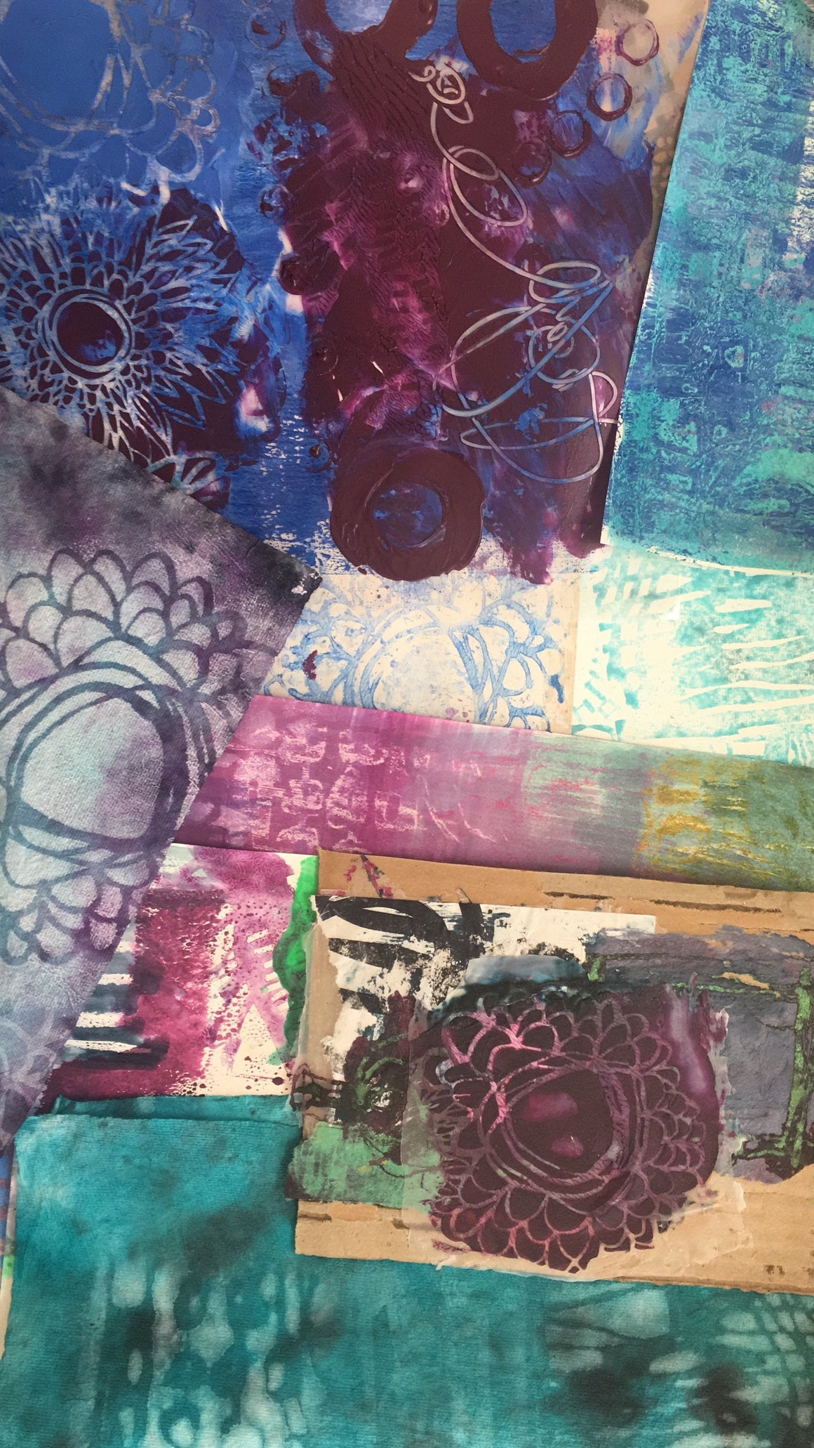 hand painted papers, acrylic skins and distressed collage from Traci Bautista's SOULFUL SCRIBBLES online workshop series