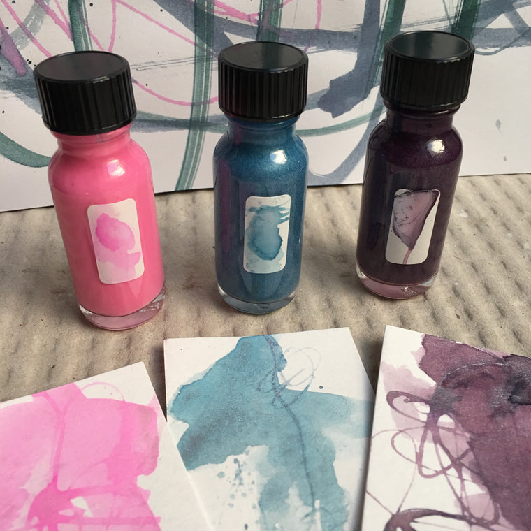 #tracibautistaCOLOR ~ winter WONDERLAND collection no.3 baby ice blue. pale pink. lilac frost artisan ink 3 set {15ml}