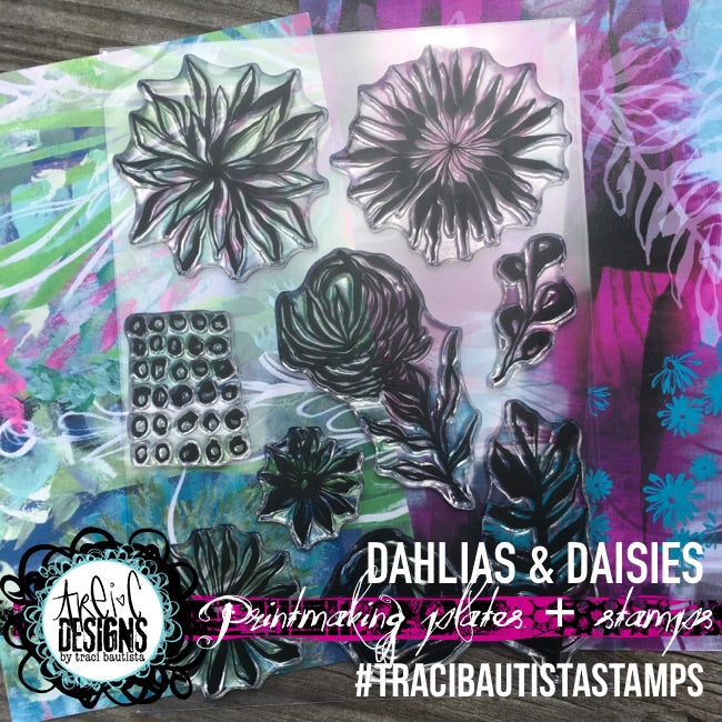 dahlias + daisies FLORALS stamp set