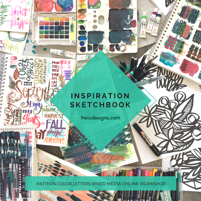 INSPIRATION SKETCHBOOK: patterns + color + letters online workshop