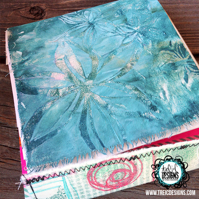 LILY fabric handmade art quilt journal