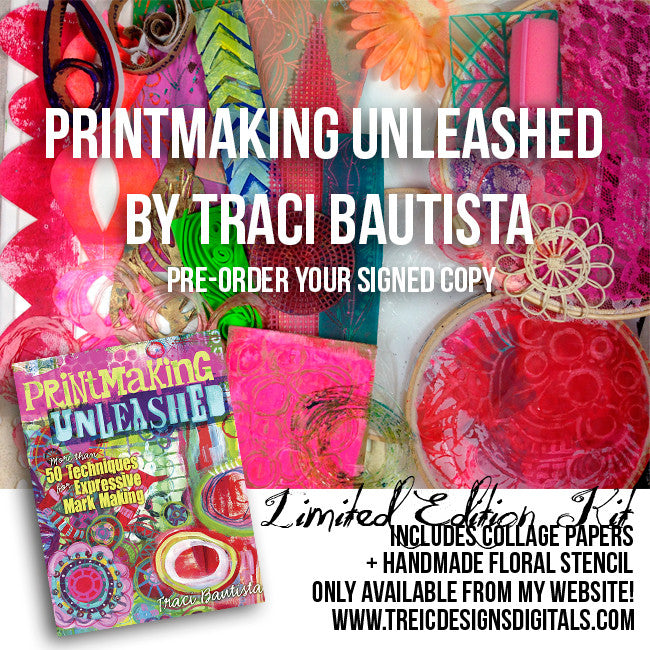 Printmaking Unleashed autographed book + collage kit